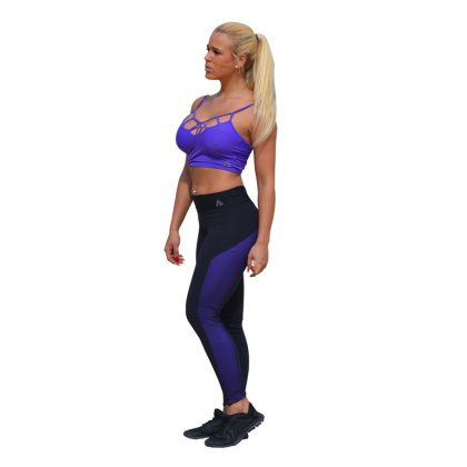 Foxy Mesh Bi-color Leggings Black Purple (3)