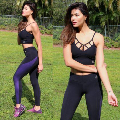 Foxy Mesh Bi-color Leggings Black Purple (2)