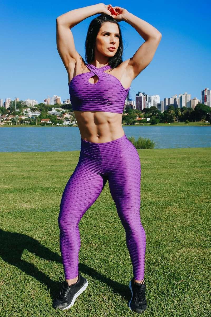 Tightbunz Activewear buy canoan tropical leggings CANOAN Tropical Purple Anti Cellulite Legging scrunch booty leggings flawless leggings high waist leggings